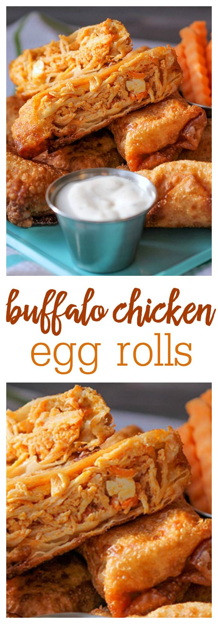 Buffalo Chicken Egg Rolls - two of our favorite appetizer recipes in one. They were a hit with the whole crew! Spicy chicken in a crispy wonton wrapper - the combination is so good!