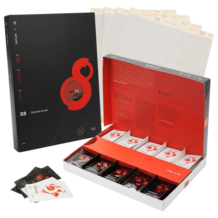S8 Red Tattoo Stencil Kit Includes 25 Sheets of Stencil Paper, 25 Transfer Gels, 25 Tattooing Gels