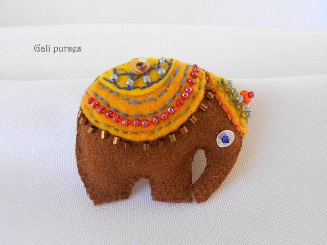 Elephant Textile Brooch.Art Icon Pin.Cute Felt Brooch.Handmade art brooch. by Galipurses on Etsy