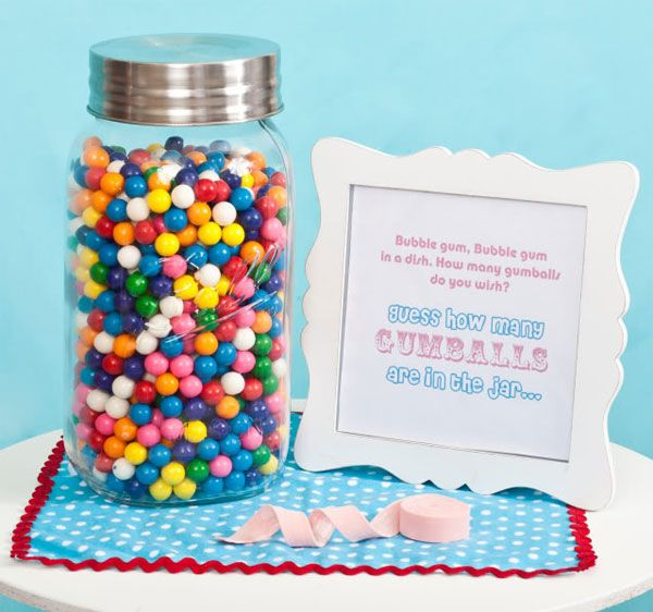 Party game... guess how many gumballs (or other candy) are in the super sized jar. Who wouldn't want a chance to win a giant jar of gumballs?