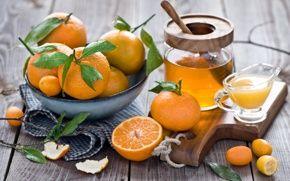 мандарины, фрукты, оранжевые, мед, сок, кожура, листья, посуда, натюрморт, зима,