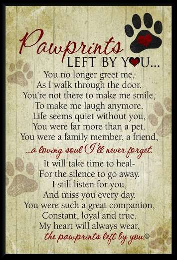 A beautiful tribute to a lost pet. A 5x7 wall plaque with Pawprints Left by You sentiment by Teri Harrison. A perfect gift for a grieving pet owner.