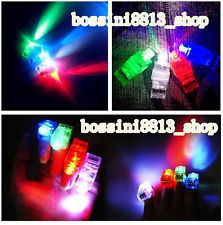 8 X LED Finger Lights Lamps Party Laser Finger Light Up Beam Torch Glow Ring BOS