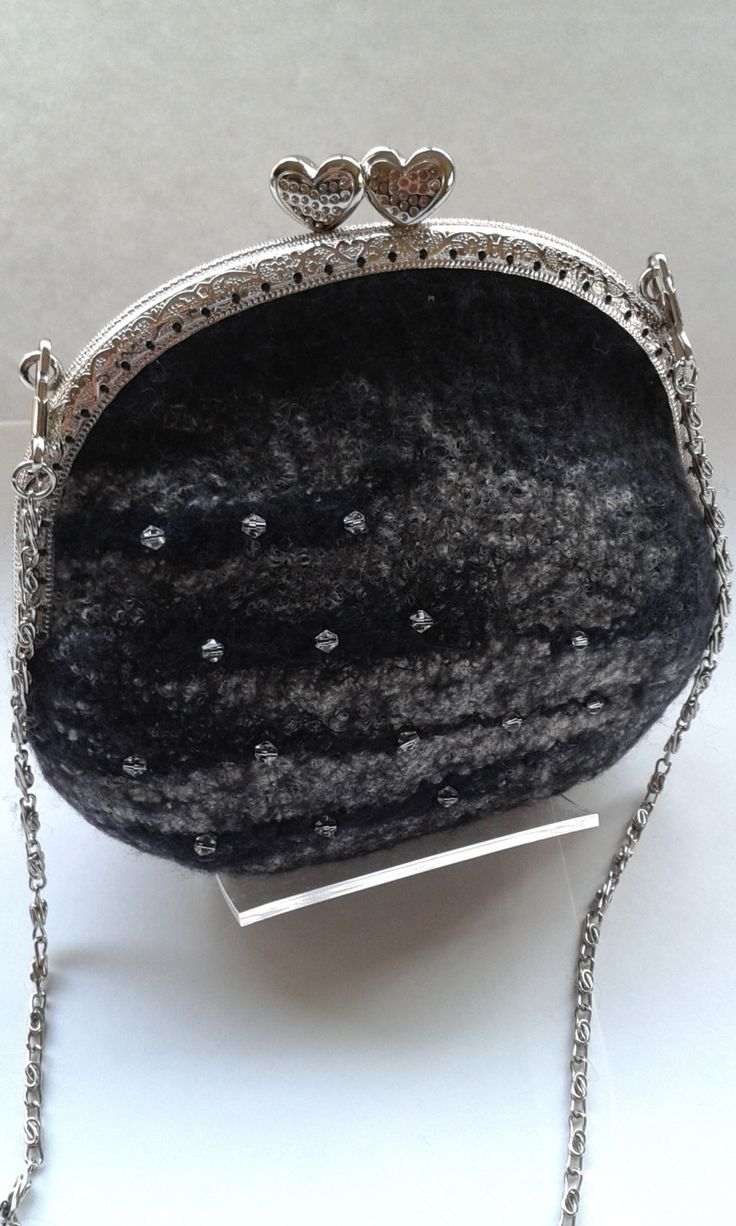 Black Merino wool felt bag with chrystal beaded detail and 120 cm shoulder chain 11446 by Feltedfibres on Etsy