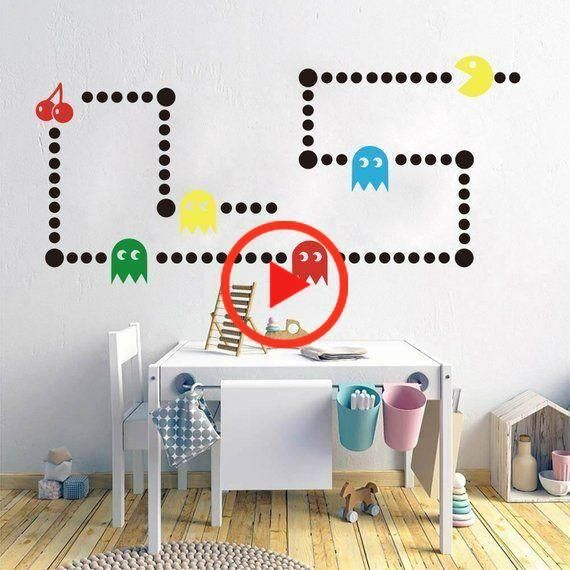 Pacman Game Wall Decal Retro Gaming Xbox Decal Pacman Game Space Invaders Wall Sticker Vinyl Decal Wall Decals Vinyl Decals Wall Sticker