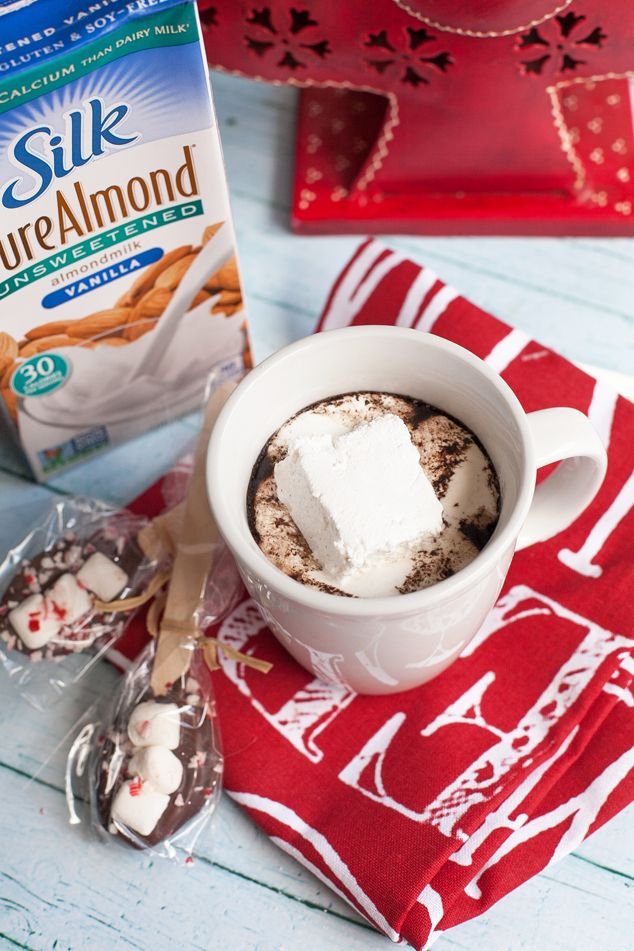 Create a handmade gift basket for Christmas with Silk Milk and dairy-free cocoa mix! #christmas #handmade #DIYgifts