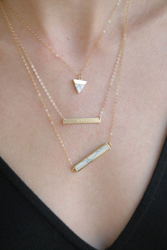 These ultra skinny personalized bar necklaces are available in 14kt yellow gold filled, rose gold filled and .925 sterling silver on a delicate cable