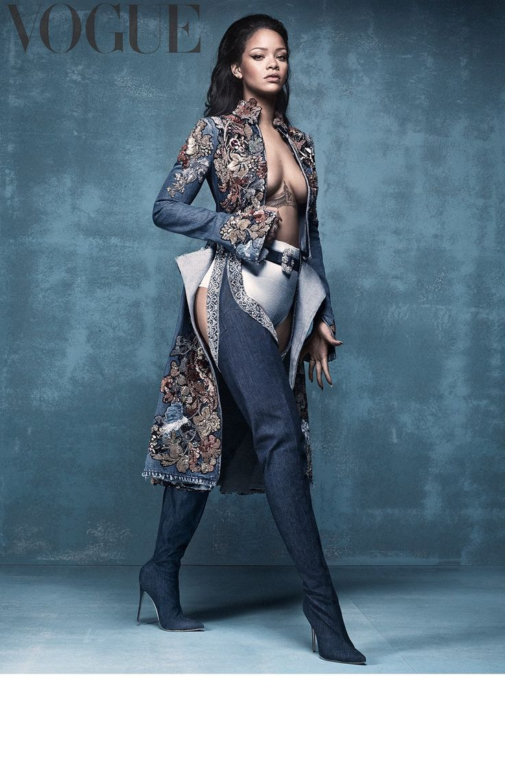 Rihanna in British Vogue April 2016 wearing Rihanna x Manolo Blahnik denim chap boots #workit...x