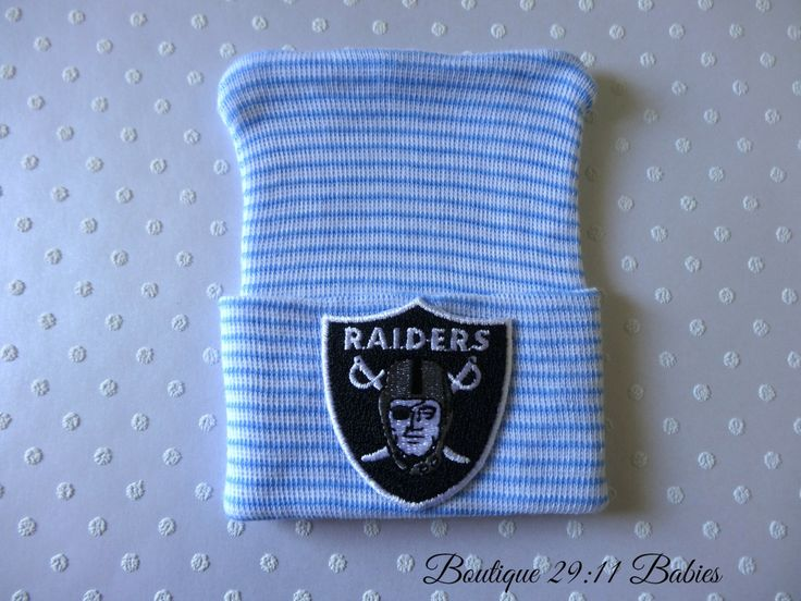 READY TO SHIP Newborn Hospital Beanie with Oakland Raiders Emblem- baby boy beanie-infant beanie-infant hat-baby boy gift-baby boy football by Boutique2911Babies on Etsy
