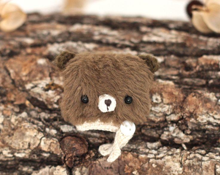Brown bear brooch soft fabric brooch bear sweet animal brooch mini bear amigurumi teddy bear handmade by KodamaLife on Etsy