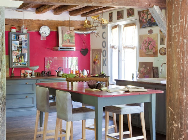 Fun KitchenKitchens Colors, French Country Decor, French Interiors, Rustic Kitchens, House Interiors, French Country Home, Grey Kitchens, Pink Kitchens, English Home