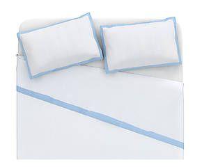 Parure letto matr. in lino Alain - azzurro