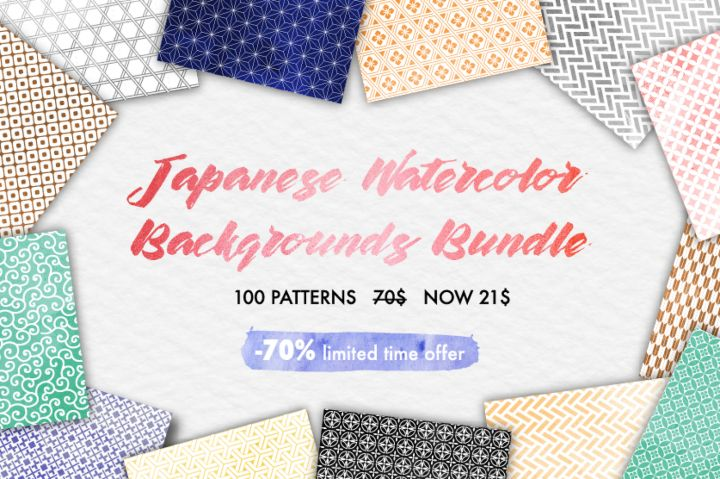 Japanese Watercolor Backgrounds Bundle 100 sheets By All is full of love