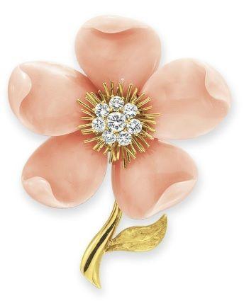"""A CORAL AND DIAMOND """"ROSE DE NOEL"""" BROOCH, BY VAN CLEEF & ARPELS"""