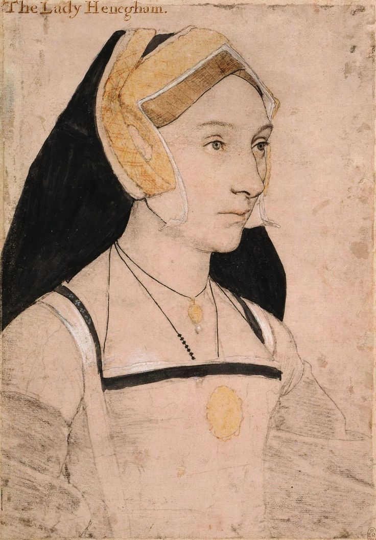 "Mary, Lady Heveningham (1510/15-1570/71), Hans Holbein the Younger, c. 1532-43. ""A portrait drawing of Mary, Lady Heveningham (1510/15-1570/71), wife of Sir Anthony Heveningham, daughter of Sir John Shelton, and cousin of Queen Anne Boleyn. A bust length portrait facing three-quarters to the right. She wears a necklace, pendant and medallion. Inscribed in an eighteenth-century hand at upper left: The Lady Henegham."""