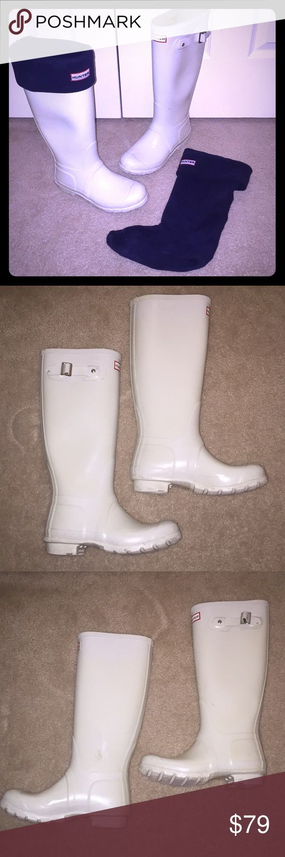 Hunter Tall Rainboots with Insert Socks! Great pair of white Hunter Original Tall Wellington Rainboots Womens size 6. These boots are used and have a couple of scuffs (please see pictures). No rips, tears, holes or leaks. Great pair of boots. I am also including the navy blue sock inserts (size 5-7 in Womens) that fits these boots. Hunter Boots Shoes Winter & Rain Boots