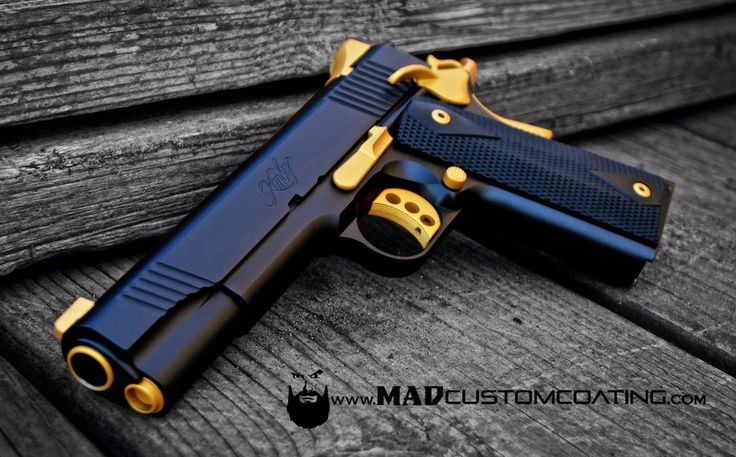 MAD Black and Cerakote Gold on a Kimber 1911. For more projects visit www.madcustomcoating.com.