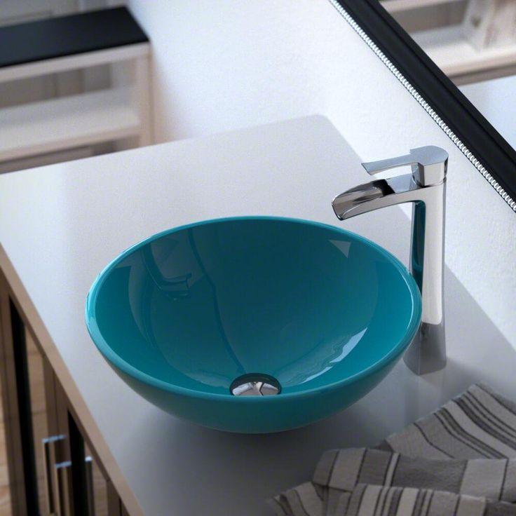 601 Turquoise Glass Vessel Sink 731 Ensemble