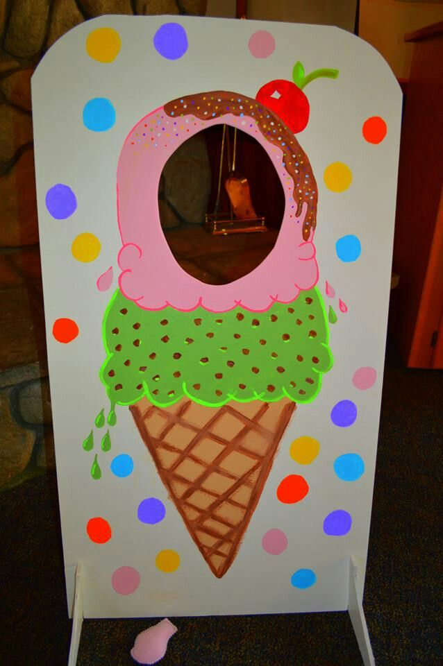 "Photo prop from our ice cream social. It doubled as a ""bean"" toss too! The bean bags I made from (brain freeze) ice cream fabric and fleece. The bean bags were used for our hopscotch game too. Friends took them home to use later for handwarmers!;)"
