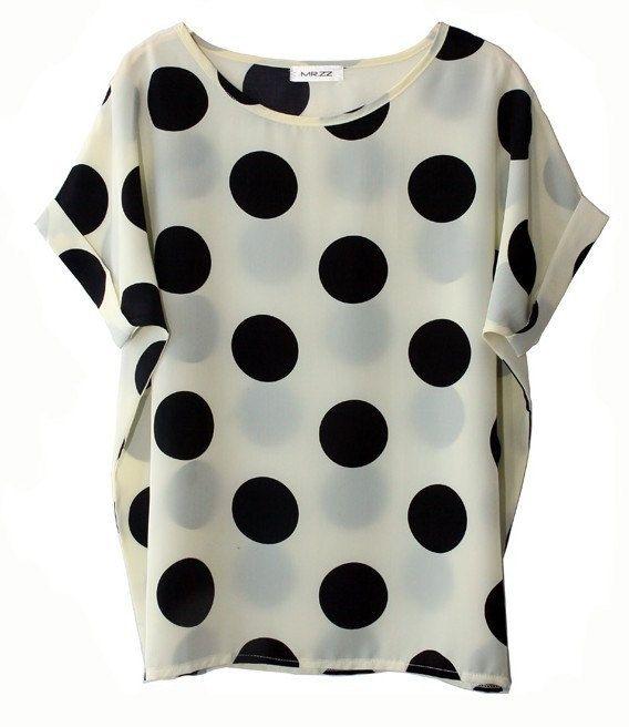 : Polka Dots Prints, Large Prints, Black And White, Large Polka Dots, Dots Blouse, Polka Dots Shirts, Chiffon Shirt, Black Dots, Big Dots