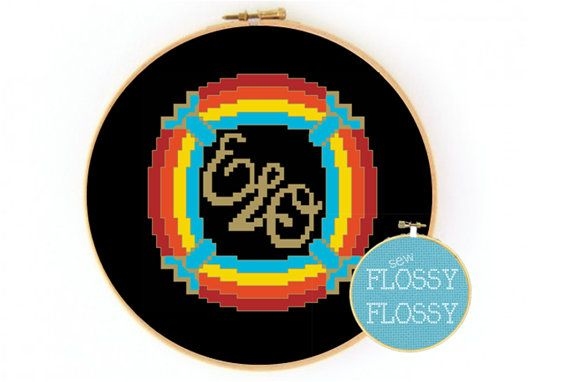CROSS STITCH PATTERN - Electric Light Orchestra (ELO) Spaceship Band Logo Jeff Lynne made by SewFlossyFlossy, $8.00 #ELO #electric_light_orchestra #jeff_lynne #spaceship #band #logo #cross_stitch #cross_stitch_pattern