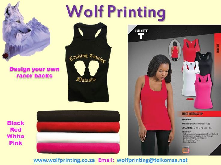 We love adding your designs to t-shirts, vests, racer backs and hoodies. Visit Wolf Printing to see all our personalised gift and clothing items.
