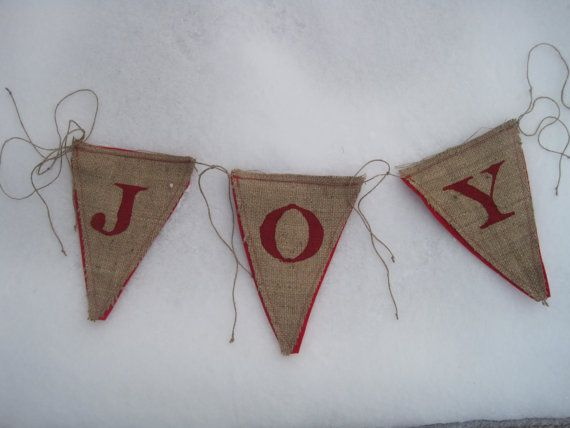 Upcycled JOY Burlap Banner (Red with Red Felt Backing) Rustic Christmas Bunting Eco-Friendly Home Decor. $20.00, via Etsy.
