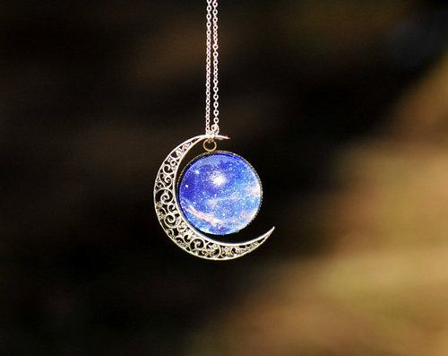 Aurora moon necklace  Enamel project: make an enameled starry sky with a moon next to it: pendant