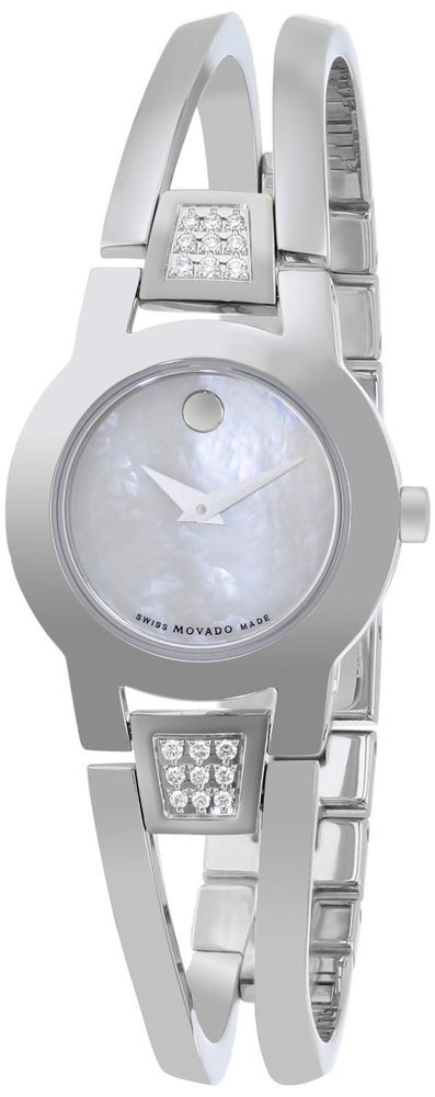 Movado Women's 0606617 Amorosa Stainless Steel White Mother-Of-Pearl Watch #Movado #Luxury