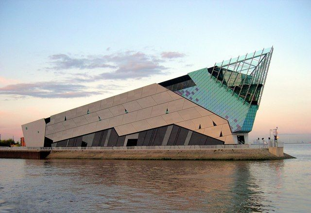 The world's only underwater elevator (cars travel through a transparent tube 33 feet through the water and pause midway to allow visitors a mid-tank view). The recreated ocean and submerged aquarium can be found at The Deep in Hull in England. Admission is about $15 per adult.