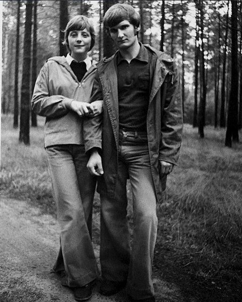 A young Angela Merkel and her first husband. 1975