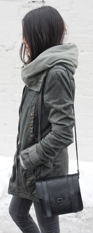 Military Trend: Jessica Lemos is wearing an All Saints parka with a pair of ash grey skinny jeans