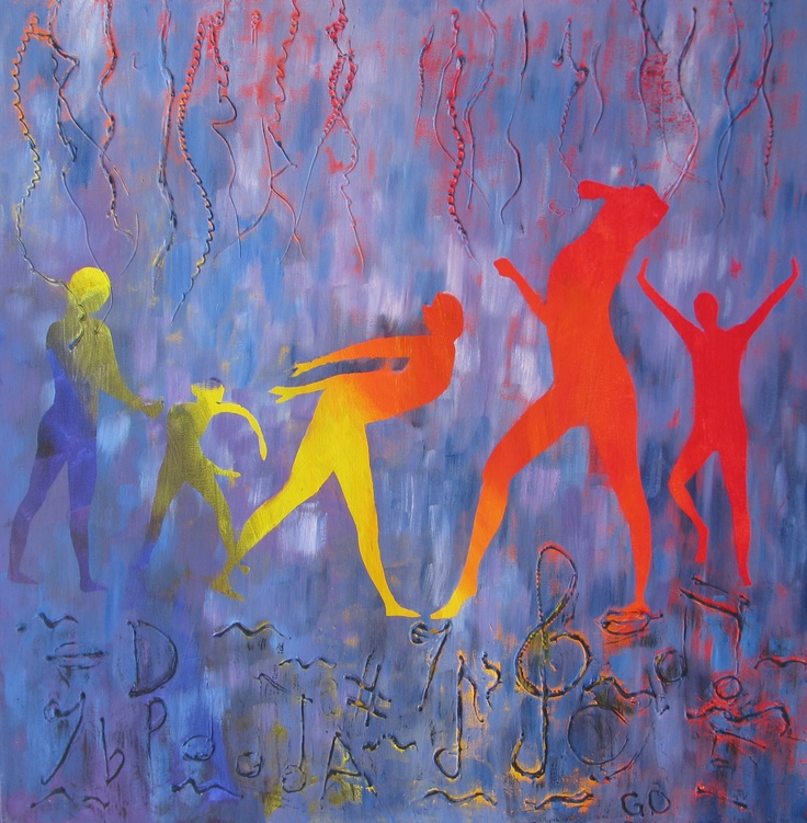 OAKES, GAYE 'The Rhythm of Life is a Powerful Beat' Acrylic underpainting on canvas with oil paintover Size: 61x61x5 $650
