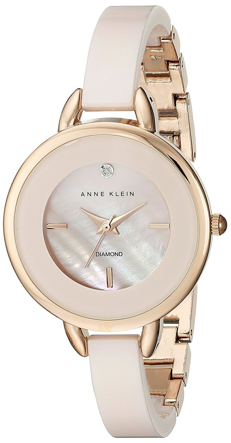 Anne Klein Women's AK/2132RGLP Diamond-Accented Light Pink Ceramic Bangle Watch *** Want to know more about the watch, click on the image.