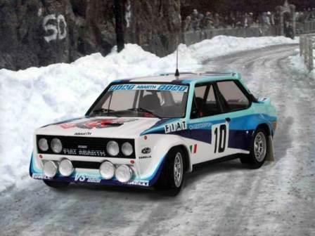 The Fiat Italia Number 10 driven by Walter Röhrl and Christian Geistdörfer to win the 1980 Monte Carlo Rally.