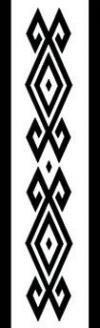 Pichikemenküe con Külpuwe Ñimin Pichikemenküe significa tinaja o jarrón de greda en la cultura Mapuche. Las tinajas están representadas por los diamantes más pequeños. Los diseños fuera de los diamantes son külpe ñimin, que representan garfios.