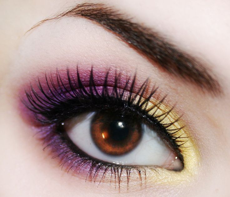 Another look by deviantart's Hed-y with colors from opposite sides of the color wheel, yellow, purple, eye shadow