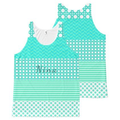 Pastel Turquoise Pattern Mix All-Over-Print Tank Top - pattern sample design template diy cyo customize