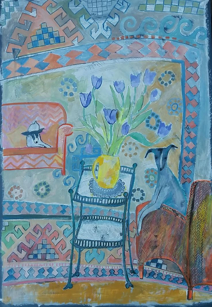 Tulips in a Yellow Vase by Helen Mudge