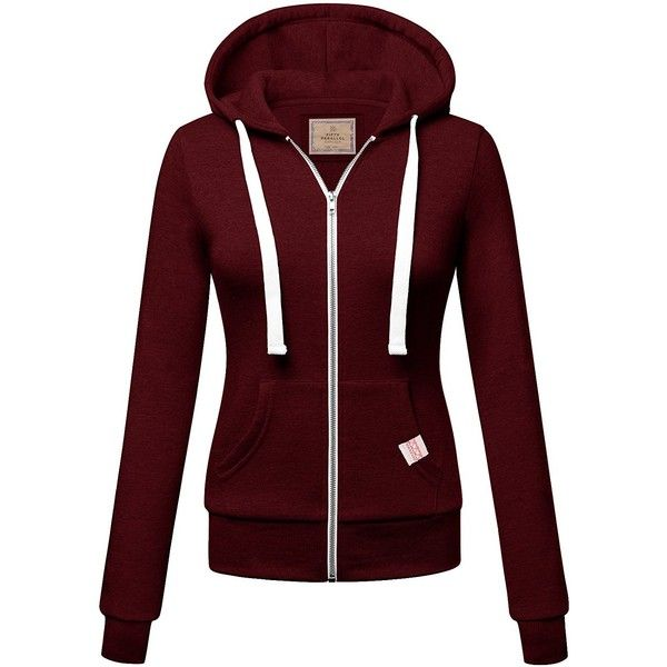 FPT Womens Basic Zip-Up Hoodie (S-3XL) ($22) ❤ liked on Polyvore featuring tops, hoodies, zip up hoodie, hooded zip up sweatshirt, hooded sweatshirt, red hoodie and red hoodies
