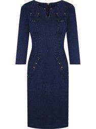 Sukienka damska Krystyna, dżinsowa kreacja z kieszeniami.