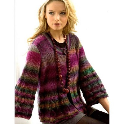 We love this three quarter sleeve knit jacket. Looks great with a chunky bead necklace.