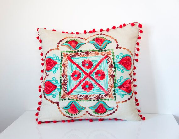 Red Turkish Traditional Decorative Pillow by prettysurprise, $29.00