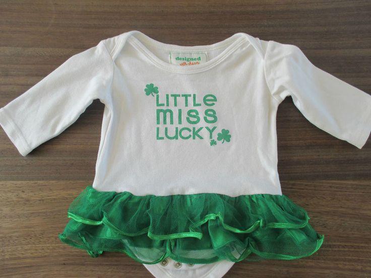 Baby girls Little Miss Lucky Irish ballet dress - vest & net trim 9-12 mths
