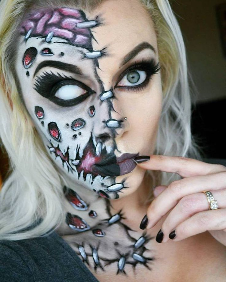 Just trying to hold myself together. Half face zombie facepaint. Halloween makeup