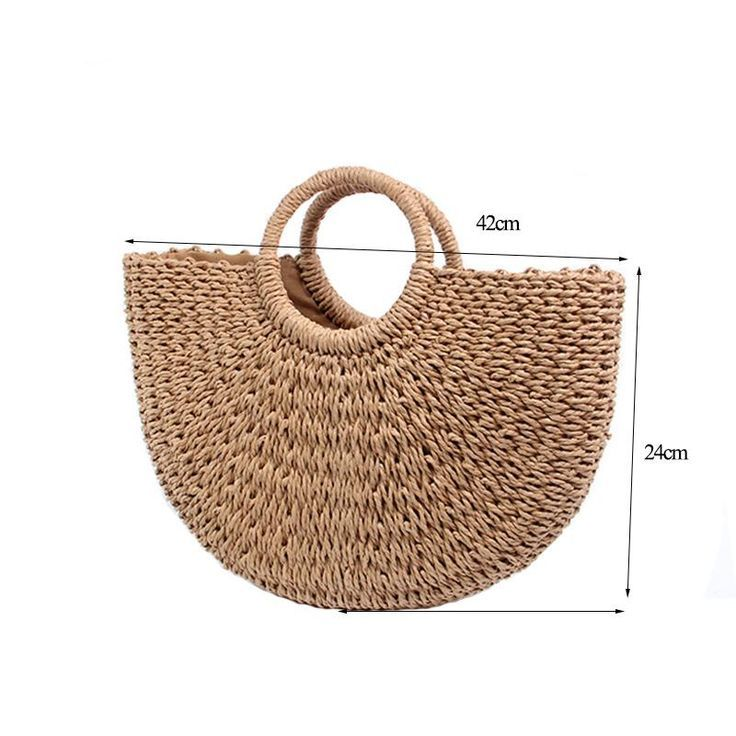 Beach Bag Hand Woven Straw Bags Fashion Women Casual Tote Large Capacity Shopping Women Handb…