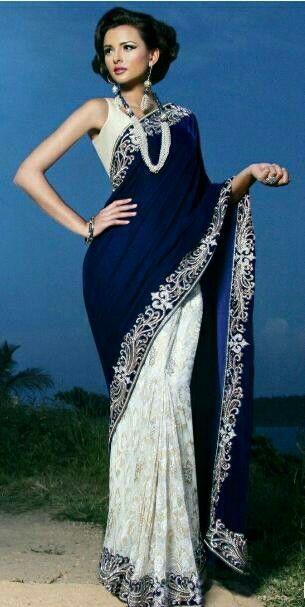 Navy Blue + White (lace) saree Alankara