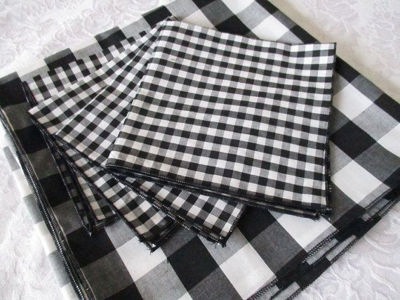 Black And White Large Checkered Tablecloth, Poly Cotton Measuring 45 X 45  With 4 Luncheon Part 86