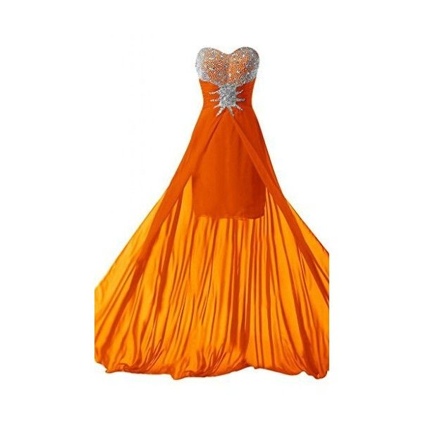 Dresstells Women's Tulle High Low Homecoming Dress Lace Prom Dress ❤ liked on Polyvore featuring dresses, orange prom dresses, lace dress, cocktail prom dress, hi low prom dresses and orange homecoming dresses