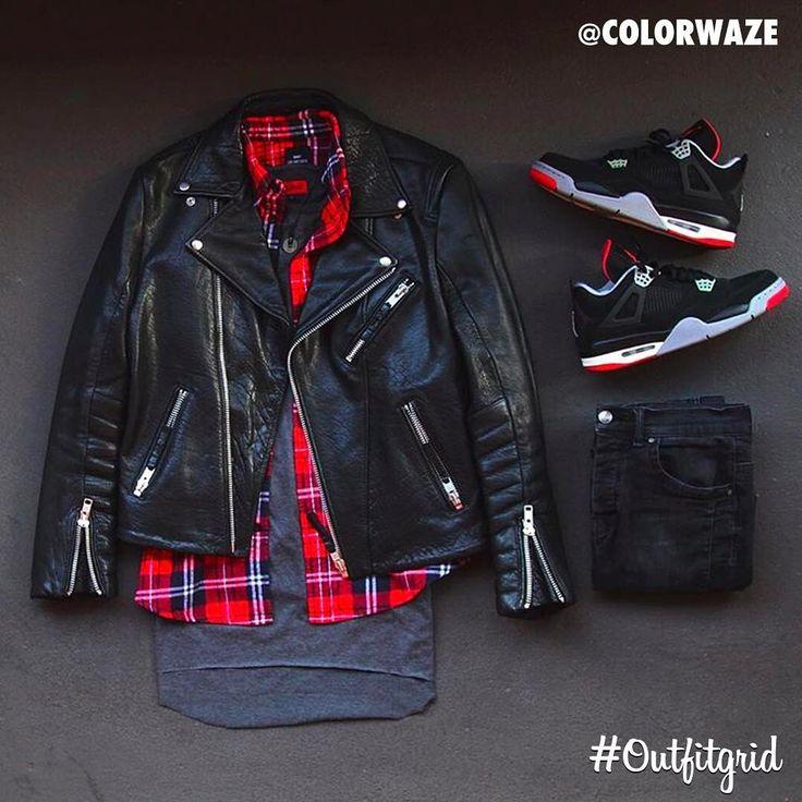 Today's top #outfitgrid is by @colorwaze. ▫️#HM #LeatherJacket ▫️#LesArtists #Flannel ▫️#Zara #Denim ▫️#Killion #Tee ▫️#JordanIV – Ariana Ochoa